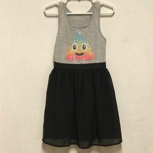 Girls Emoji Sequin Dress